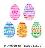 watercolor easter eggs... | Shutterstock . vector #1609311679