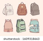 backpack collection in... | Shutterstock .eps vector #1609318663