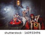 girl is driving go kart with... | Shutterstock . vector #160933496