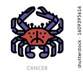 astrology_cancer icon for... | Shutterstock .eps vector #1609395616