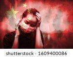 dark tone double expose of girl ... | Shutterstock . vector #1609400086