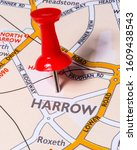 A pin marking the location of the town of Harrow on a map of the United Kingdom.  Harrow is a town located in the London Borough of Harrow.