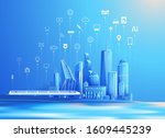 vector of smart city and...   Shutterstock .eps vector #1609445239