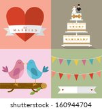 banner,bluebird,bows,branch,bride,bunting,cake,celebration,ceremony,decorations,fruit cake,groom,hearts,icons,illustrations
