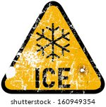 auto,blizzard,car,grungy,highway,ice,icy,road sign,season,sign,snow,snow storm,symbol,traffic,traffic sign