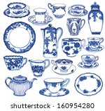 fine china   set of hand drawn... | Shutterstock .eps vector #160954280