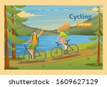 young people on a bike ride ... | Shutterstock .eps vector #1609627129