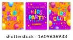 set of kids flyers for party ... | Shutterstock .eps vector #1609636933