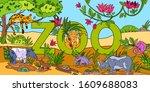 vector stock banner  zoo  with... | Shutterstock .eps vector #1609688083