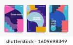 bauhaus design covers set.... | Shutterstock .eps vector #1609698349