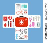 first aid kit  stethoscope and... | Shutterstock .eps vector #1609698790