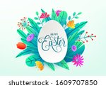 happy easter background... | Shutterstock .eps vector #1609707850