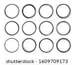 dozen  black round grunge...   Shutterstock .eps vector #1609709173