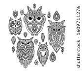 cute owls family  ornate for... | Shutterstock .eps vector #1609711276