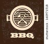 bbq design over pattern... | Shutterstock .eps vector #160971518