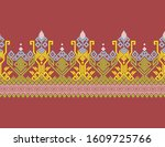 indonesian batik songket... | Shutterstock .eps vector #1609725766