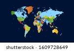 world map. color. vector.... | Shutterstock .eps vector #1609728649