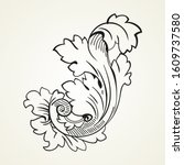 vintage tattoo floral ornament  ... | Shutterstock .eps vector #1609737580