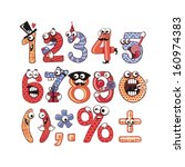 funny  happy numbers set with... | Shutterstock .eps vector #160974383