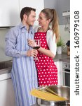 couple in love cooking together ... | Shutterstock . vector #160979108