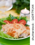 baked meat with mushrooms.... | Shutterstock . vector #160979144