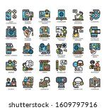 set of online learning thin... | Shutterstock .eps vector #1609797916