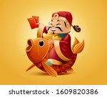 god of wealth rides on lucky... | Shutterstock . vector #1609820386