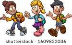 school kids with backpacks... | Shutterstock .eps vector #1609822036