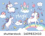 set of cute unicorns and... | Shutterstock .eps vector #1609832410