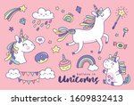 set of cute unicorns and... | Shutterstock .eps vector #1609832413