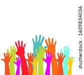 colorful raised hands group art ...   Shutterstock .eps vector #1609834036