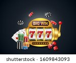 big win slots machine 777... | Shutterstock .eps vector #1609843093