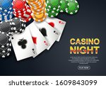 casino night. with chip poker... | Shutterstock .eps vector #1609843099