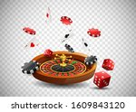 casino roulette wheel with... | Shutterstock .eps vector #1609843120