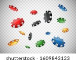 casino poker chips flying on... | Shutterstock .eps vector #1609843123