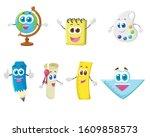 funny school stationery... | Shutterstock .eps vector #1609858573