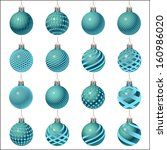 set of christmas balls... | Shutterstock . vector #160986020