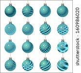 set of christmas balls... | Shutterstock . vector #160986020