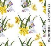 flower seamless pattern vector...   Shutterstock .eps vector #1609939813