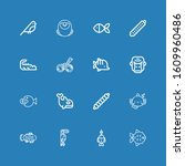 editable 16 fauna icons for web ... | Shutterstock .eps vector #1609960486