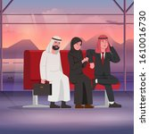 arabian bussinessman and woman... | Shutterstock .eps vector #1610016730