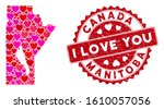 Love collage Manitoba Province map and distressed stamp watermark with I Love You phrase. Manitoba Province map collage formed with random red heart icons.