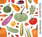 autumn harvest vector seamless... | Shutterstock .eps vector #1610072350