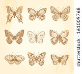 Set Of Vintage Butterflies. 9...