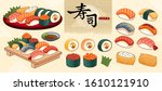 sushi bar food collection in... | Shutterstock .eps vector #1610121910