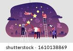astrologer watching at night... | Shutterstock .eps vector #1610138869