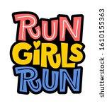 run girls run flat hand drawn...   Shutterstock .eps vector #1610155363