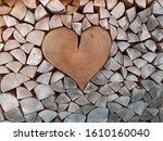 Closeup Of The Wooden Heart...