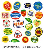 funny fruity vector stickers... | Shutterstock .eps vector #1610172760