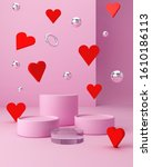 valentines hearts with pink... | Shutterstock . vector #1610186113